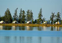 Tourist camp on the bank of Khuvsgul lake